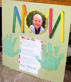"Mother's Day crafts: Adorable ""Mom"" card. LOVE the use of Popsicle sticks for the M's."