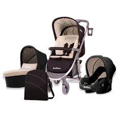 Combiné trio poussette - nacelle - siège auto Baby Fox Roma Noir Beige