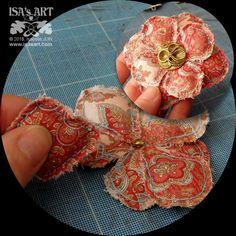 ISA'sART: MA LITTLE COUTURE - POCHON ET FLEUR (tuto fleur textile pochoir P126)
