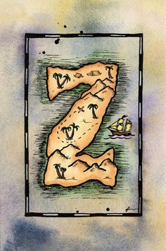 """LETTER   Z .....Treasure Map / 5"""" x 7"""" Archival PRINT / Pirate Map of Letter Shaped Island / Alphabet Letter Z / Initial Z / Sailing Gift / Nautical Art"""
