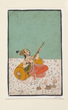 Lady Musician Playing a Sitar. 19th C. Kota, India (Rajasthan). Indian miniature