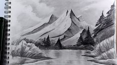 How to draw realistic mountains with pencil, step by step and easy 2 : D...