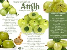 Natural health benefits of Amla - Indian Gooseberry. Includes recipes for amla smoothie and amla chutney. Matcha Benefits, Lemon Benefits, Coconut Health Benefits, Energy Drinks, Fresco, Health And Wellness, Health Tips, Health Care, Health Facts