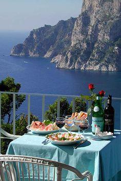 Terrazza Brunella Restaurant in Capri - Ummm this is kinda where I want to eat my breakfast every morning.