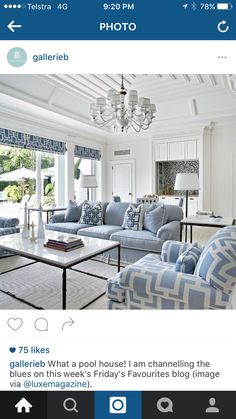 Blue And White Living Room components can add a touch of favor and design to any residence. Blue And White Living Room can mean many issues to many people… Coastal Living Rooms, Home Living Room, Living Room Designs, Living Room Decor, Hamptons Living Room, Coastal Living Magazine, Decor Room, Dining Room, Dining Table