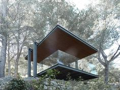 Architect Philipp Bretschneider of Architekten, has designed a pavilion that overlooks the ocean off the island of Mallorca, Spain. Cubic Architecture, Pavilion Architecture, Minimalist Architecture, Sustainable Architecture, Contemporary Architecture, Architecture Details, Interior Architecture, Residential Architecture, Landscape Architecture