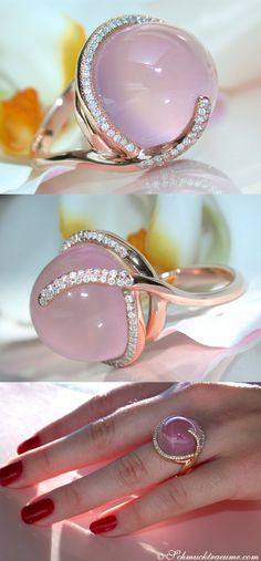 Feminine: Rosequartz Diamond Ring, 24 ct. RG18K - Visit: schmucktraeume.com - Like: https://www.facebook.com/pages/Noble-Juwelen/150871984924926