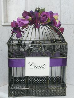 Card Box Wedding Birdcage Card Holder Birdcage / Romantic Rustic Birdcage Purple / Lavender Decor