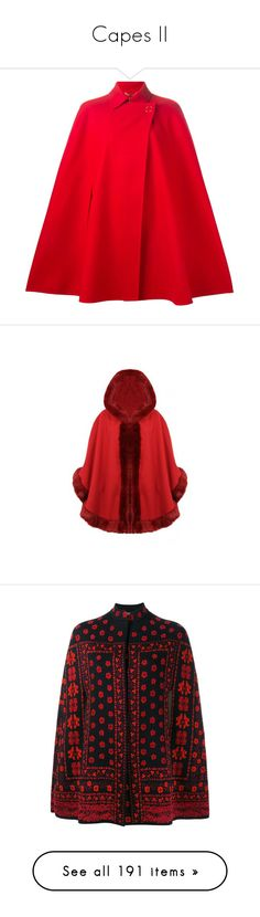 """Capes II"" by canadian-necromancer ❤ liked on Polyvore featuring outerwear, coats, jackets, cape, coats & jackets, red, red coat, red cape coat, red wool cape and wool coat"