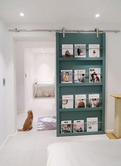 62 Ideas Sliding Door Diy Cabinet Spaces For 2019 Sliding Door Bookcase, Bookshelf Door, Sliding Door Design, Diy Sliding Barn Door, Diy Door, Sliding Doors, Bedroom Doors, Diy Cabinets, Shelving