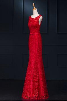 U-Ausschnitt Bodenlang Tüll mit Spitze Abendkleider Meerjungfrau rot #liebekleider #Ballkleider #Cocktailkleider