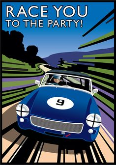 I did this for a friends birthday party invitation. It's his 1965 MG Midget…