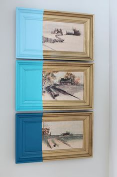 DIY Paint Dipped Artwork. Blue artwork. DI Y wall decor. Coastal decor. Coastal living. www.simplestylings.com #thriftscore