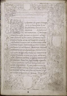 Opening of text with initial and full border including an angel and coats of arms; unfinished. 1507
