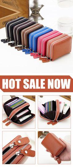 e9be2aacdaa8e 10 Card Slots PU Leather Card Holder Wallet 6 Colors