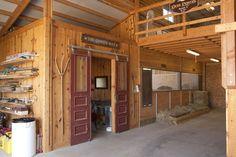 Horse barn, open loft, tack room - sliding doors - my dream of heaven for the urchins. Barn Stalls, Horse Stalls, Dream Stables, Dream Barn, Barn Layout, Horse Barn Plans, Morton Building, Barn Apartment, Farm Barn