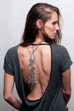Oxidize silver Long statement Leaf metal lace by inbarshahak, $178.00