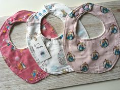 Baby girl set of 3 cotton dribble bibs, Peter Rabbit 0/3 months, drool bibs,burp cloth, baby gift set,baby shower gift, baby clothes by SmallBearCraft on Etsy  #babyshowerideas