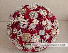 Deposit on a Cherry and Gold wedding brooch bouquet, Jeweled Bouquet. Broach Bouquet, Wedding Brooch Bouquets, Gold Wedding, Wedding Flowers, Elegant Wedding, Wedding Decor, Dream Wedding, Wedding Ideas, Bridesmaid Corsage
