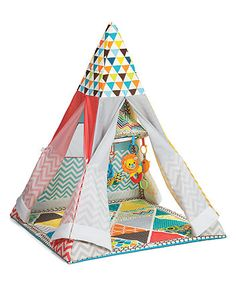 Transforms from a play gym to a teepee for fun from teeny to toddler!