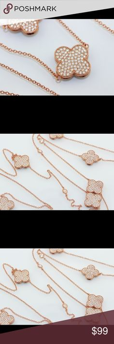 Clover Style Long Necklace In the Alhambra or Clover Style this silver plated with rose gold is well made and a classic beauty Jewelry Necklaces