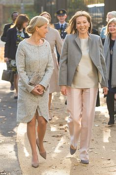 The Countess of Wessex (left) and Colombian First Lady Maria Clemencia Rodriguez de Santos...
