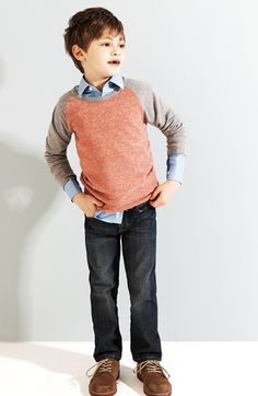 color block pullover, button up, jeans, oxfords