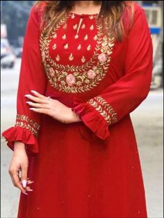 Order GOWN on WhatsApp number or ArtistryC.in <br> Salwar Designs, Kurta Designs Women, Kurti Neck Designs, Kurti Designs Party Wear, Embroidery Suits Punjabi, Kurti Embroidery Design, Embroidery Fashion, Neck Designs For Suits, Designs For Dresses