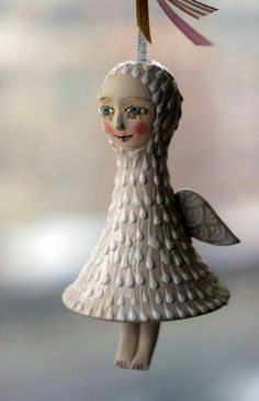 Angel. BellDoll little ceramic sculpture. Hand made by yalonetski