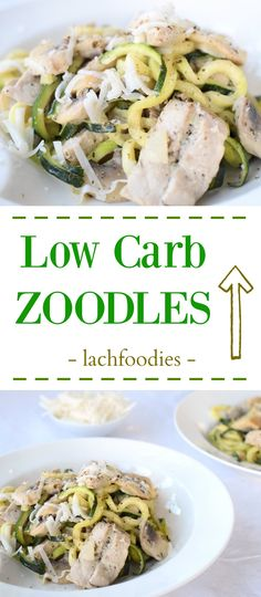 YUM! Low Carb Noodles - Zoodles with cream, cheese and champignons. Pasta without gluten for an healthy lunch. | Low Carb Nudeln