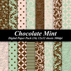 Chocolate Mint Digital Paper Pack 16 300 dpi by DelightfulDigitals, $4.00