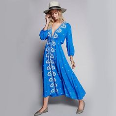 Flower Bohemian Embroidery Dresses For Women Summer long Sleeve V-Neck Vintage Ethnic Hippie Chic Style Sexy Dress Clothing