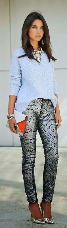 Party pant in silver and sparkle with silver heels