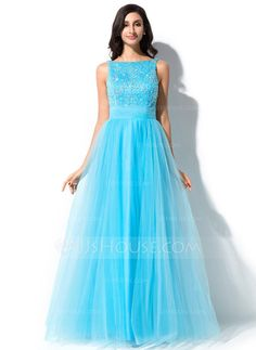 Prom Dresses - $168.99 - A-Line/Princess Scoop Neck Floor-Length Tulle Charmeuse Prom Dress With Lace Beading Sequins Bow(s) (018047986) http://jjshouse.com/A-Line-Princess-Scoop-Neck-Floor-Length-Tulle-Charmeuse-Prom-Dress-With-Lace-Beading-Sequins-Bow-S-018047986-g47986