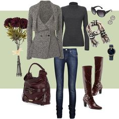 Autumn in New York, on Polyvore/ Not sure about brown and grey...but I love all the pieces!