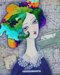 Whimsical Woman Girl Art Painting Print by por whimsiesfolksies