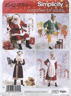 Father Christmas Santa Mrs Claus Elf Costumes Simplicity Sew Pattern 2542 L-XL