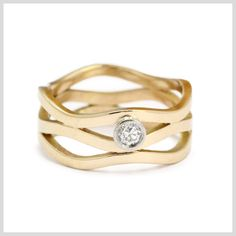Diamond Ring Handmade Bespoke Gold Platinum Palladium Contemporary Engagement Multi Wave Rubover