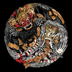 Bazzer graphik Is a well know indonesian Digital artist, his tshirts and Apparels often show drawings inspired by culture Hero of balinese folk like this Barong landung and Barong ket vs rangda Japanese Artwork, Japanese Tattoo Art, Japan Tattoo, Art And Illustration, Samurai Artwork, Indonesian Art, Batik Art, Japan Art, Ink Art