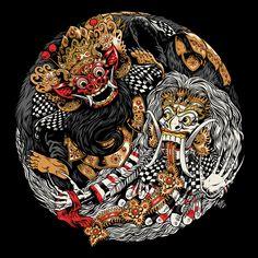 Bazzer graphik Is a well know indonesian Digital artist, his tshirts and Apparels often show drawings inspired by culture Hero of balinese folk like this Barong landung and Barong ket vs rangda Japanese Artwork, Japanese Tattoo Art, Bali Painting, Samurai Artwork, Indonesian Art, Batik Art, Japon Illustration, Japan Tattoo, Art Japonais