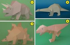 Several Dinosaurs Paper Models For Kids - by Eiichi Yoshida  ==   Japanese teacher and designer Eiichi Yoshida created these beautiful paper models of Dinosaurs in a very particular style. Some of then are in two sizes, so you can make a diorama of a herd and her cubs. Perfect for School Works.