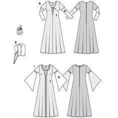 foto e cartamodello abito + cuffia medievale