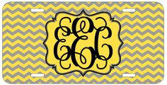 Personalized Monogrammed Chevron Yellow Grey License Plate Custom Car Tag L473