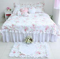 Schlafzimmer Romantische Gestaltung Shabby Chic Stil Bettüberwurf  Schlafzimmer Ideen,