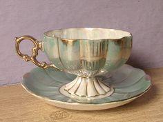 Antique Royal Sealy pedestal tea cup, green tea cup and saucer, Japanese tea cup, lustreware tea cup, iridescent tea cup, green cup saucer  This is
