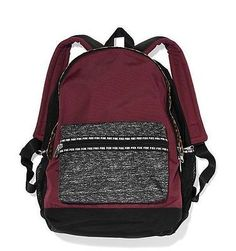 Victoria's Secret Pink Campus BURGUNDY RED Grey Marl Cheetah Backpack Large