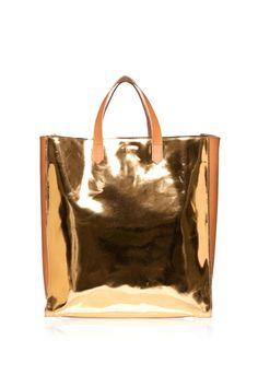 Marni Gold Shopping Bag, $1,040; marni.com   - ELLE.com