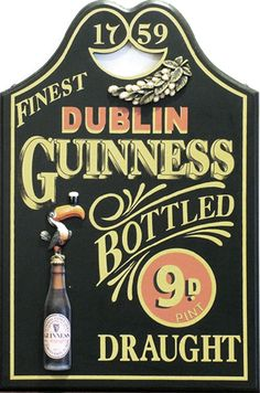 Guinness Bottle Draught Pub sign ~Repinned Via Janice Malott