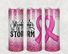The Wrong Girl, Creative Studio, Breast Cancer Awareness, Glitter, Skinny, Pink, Tumblers, Etsy