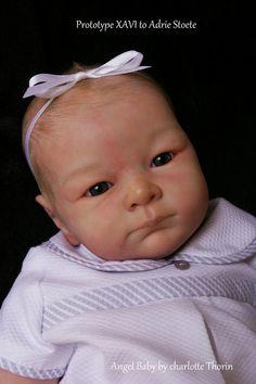 """ANGEL BABY "" PROTOTYPE reborn doll girl XAVI to Adrie Stoete, So real !"